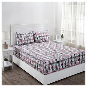 Maspar Geometric 210 TC Superfine Cotton Multi Bright Double Bedsheet With 2 Pillow Covers