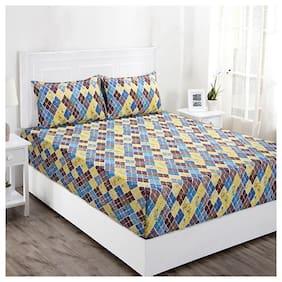 Maspar Geometric 144 TC Superfine Cotton Multi Bright Double Bedsheet With 2 Pillow Covers