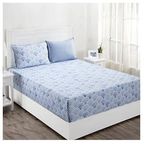 Maspar Geometric 210 TC Superfine Cotton Blue King Bedsheet With 2 Pillow Covers
