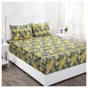 Maspar Cotton Geometric Double Bedsheet ( 1 Bedsheet with 2 Pillow Covers , Multi )