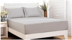 Maspar Cotton Solid King Bedsheet ( 1 Bedsheet With 2 Pillow Covers , Grey )