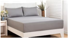Maspar Cotton Solid Double Bedsheet ( 1 Bedsheet With 2 Pillow Covers , Grey )