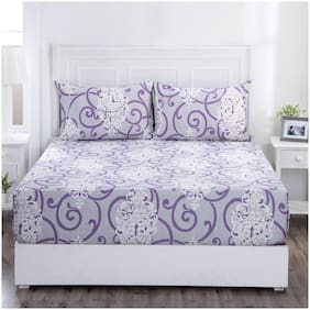 Maspar Cotton Abstract King Bedsheet ( 1 Bedsheet with 2 Pillow Covers , Purple )