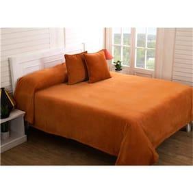 Maspar Melange chenille- Apricot Orange 1 Double Bed Cover