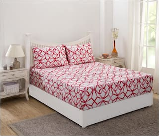 Maspar Cotton Geometric King Size Bedsheet 210 TC ( 1 Bedsheet With 2 Pillow Covers , Red )