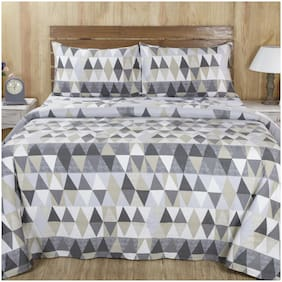 maspar Mystical 210 TC Neutral Double Bed Sheet with 2 Pillow Covers ( Pack of 3 )
