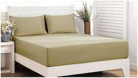 Maspar Cotton Solid Double Size Bedsheet 200 TC ( 1 Bedsheet With 2 Pillow Covers , Beige )