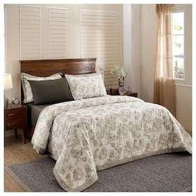Maspar Poly cotton Abstract Double Size Quilt Beige