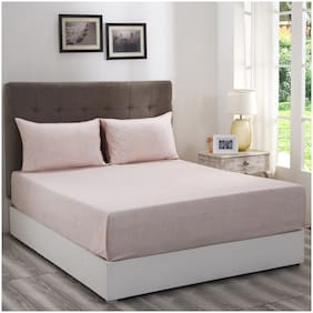 Maspar Cotton Solid King Bedsheet ( 1 Bedsheet With 2 Pillow Covers , Peach )