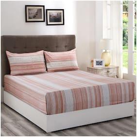 Maspar Cotton Striped Queen Size Bedsheet 210 TC ( 1 Bedsheet With 2 Pillow Covers , Peach )