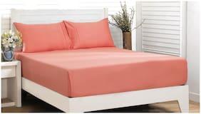 Maspar Cotton Solid Double Size Bedsheet 200 TC ( 1 Bedsheet With 2 Pillow Covers , Peach )
