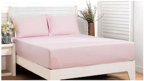 Maspar Pink Soild 200 Tc Cotton King Size Bedsheet With 2 Pillow Covers ( Pack of 3)