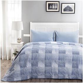 Maspar Poly cotton Checkered Double Size Quilt Blue & White