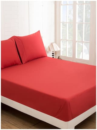 Maspar Solid Percale Red Double Bedsheet With 2 Pillow Covers (3 Pc)