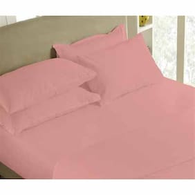 Maspar Solid Percale Pink King Bedsheet With 2 Pillow Covers (3 Pc)