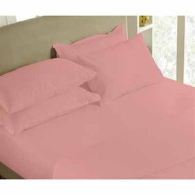 Maspar Solid Percale Pink Single Bedsheet With Pillow Cover