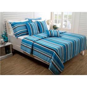 Maspar Splendid Saga 280 GSM Cotton Blue Double Bed Cover (Pack Of 1)