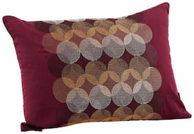 Maspar Luxe Spot Light Cotton Red Small Cushion Cover (Pack Of 1)