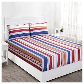 Maspar Striped 210 TC Superfine Cotton Multi Bright Double Bedsheet With 2 Pillow Covers