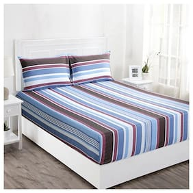 Maspar Cotton Striped Double Bedsheet ( 1 Bedsheet with 2 Pillow Covers , Multi )