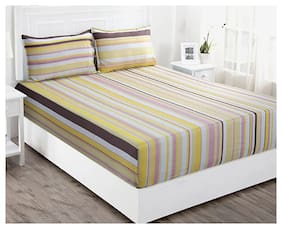 Maspar Striped 210 TC Superfine Cotton Multi Bright Double Bedsheet With 2 Pillow Covers