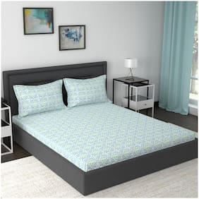 Maspar Cotton Abstract Double Size Bedsheet 210 TC ( 1 Bedsheet With 2 Pillow Covers , Blue )