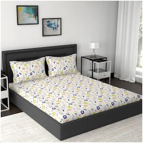 Maspar Cotton Abstract Double Size Bedsheet 160 TC ( 1 Bedsheet With 2 Pillow Covers , Multi )