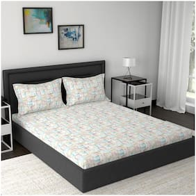 Maspar Cotton Abstract Double Size Bedsheet 210 TC ( 1 Bedsheet With 2 Pillow Covers , Beige )