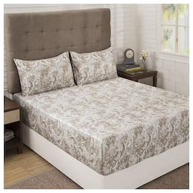 Maspar Cotton Abstract King Size Bedsheet 300 TC ( 1 Bedsheet With 2 Pillow Covers , Brown )