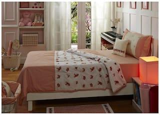Maspar Balleri 120 GSM Cotton Peach Small Quilt (Pack Of 1)
