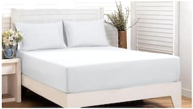 Maspar White Soild 200 Tc Cotton King Size Bedsheet With 2 Pillow Covers ( Pack of 3)