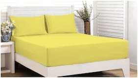 Maspar Cotton Solid Single Bedsheet ( 1 Bedsheet With 1 Pillow Covers , Yellow )