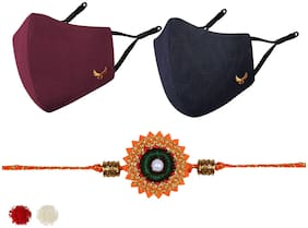 MASQ by Q-One Embroidered Designer Rakhi & Cloth Face Mask Combo with Roli Chawal & Moli Pack for Men, Boys (Large, Pack of 3)