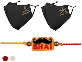 MASQ by Q-One Embroidered Designer Rakhi & Cloth Face Mask Combo with Roli Chawal & Moli Pack for Men, Boys (X-Large, Pack of 3)