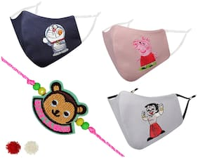 MASQ by Q-One Embroidered Designer Rakhi & Cloth Face Mask Combo with Roli Chawal & Moli Pack for Unisex Kids (Pack of 4) (Mask for 2-6 Years)