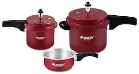Master Aura Aluminium Pressure Cooker (Set of 5L cooker with Lid 3L cooker and 2L Pan )