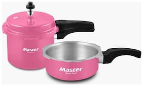 Master Aura Pink Combo Aluminium Outer Lid Pressure Cooker 3Ltr And 2Ltr Pan (ISI Marked) (Set of 2)