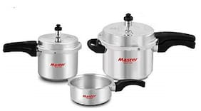 Master Family Aluminium Pressure Cooker (Set of 5L cooker with Lid 3L cooker and 2L Pan)