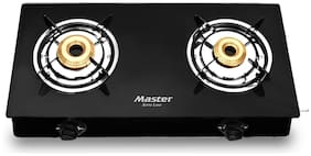 MASTER 2 Burners Stainless Steel With Glass Top Gas Stove - Black