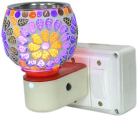 Maverick Niche Beautiful Ceramic Kapoor Dani / Aroma Oil Burner Cum Night Lamp With Switch (In-built On/Off Button For Heating); Design On The Kapoordani May Vary