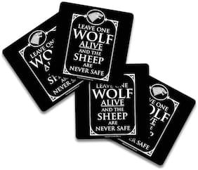 MC SID RAZZ Game of Thrones - Leave one Wolf Alive Wooden Coasters Officially Licensed by HBO;USA (Pack of 4) for [ Tea /Coffee/ Mug