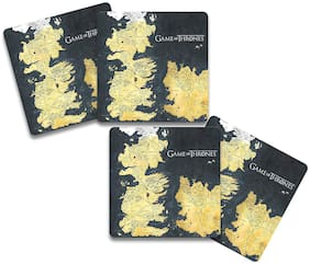 MC SID RAZZ Game of Thrones - Westeros Map Wooden Coasters Officially Licensed by HBO;USA (Pack of 4) for [ Tea/Coffee/Mug