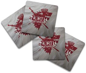 MC SID RAZZ Game of Thrones - North Remembers White Wooden Coasters Officially Licensed by HBO;USA (Pack of 4) for [ Tea /Coffee/ Mug