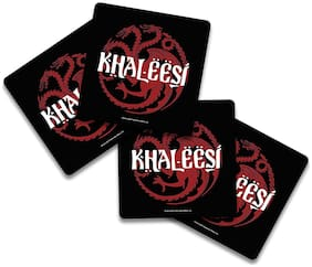 MC SID RAZZ Game of Thrones - Khaleesi Wooden Coasters Officially Licensed by HBO;USA (Pack of 4) for [ Tea/Coffee/Mug