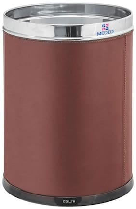 Meded Brown Leather Finish Stainless Steel Open Dustbin for Home;Office;Kitchen;Bathroom;5 liters (7 x 10)