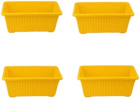 Meded Garden Essential Plastic Jupitor Planter Pots (Rectangular Width:35 cm (13.77 Inch) And Length:19 cm (7.48 Inch);Yellow;Pack of 4)