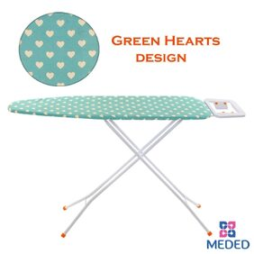 Meded Premium International Quality Queen Size Ironing Board/ Iron Table Stand With Press Holder;Foldable & Height Adjustable (110 x 33 cm) Green Hearts