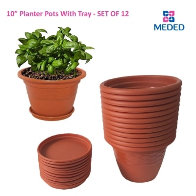 Meded Siti Plast 10 inch Heavy Duty Plastic garden Planters Pots With Bottom Tray (Pack  sc 1 st  Paytm Mall & Meded Flower Pots \u0026 Vases Prices | Buy Meded Flower Pots \u0026 Vases ...
