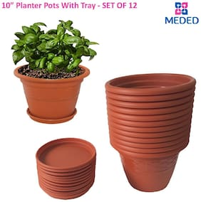 Meded Siti Plast 10 inch Heavy Duty Plastic garden Planters Pots With Bottom Tray (Pack of 12) Colour - Terracotta