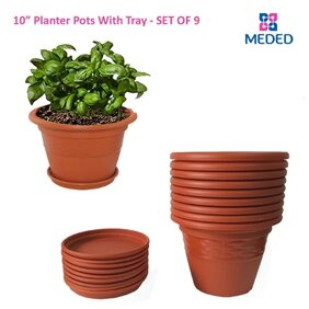Meded Siti Plast 10 inch Heavy Duty Plastic garden Planters Pots With Bottom Tray (Pack of 9 ) Colour - Terracotta